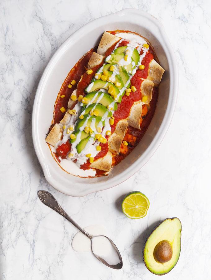 Zapečené veganské enchiladas